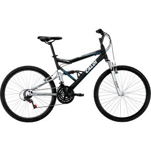 Bicicleta Caloi KS Full Suspension Aro 26 21 Marchas MTB - Preto