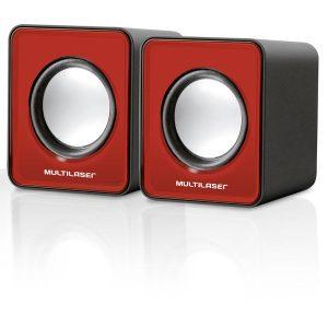 Caixa de Som Multilaser 2.0 Mini 3W RMS Vermelho - SP197 SP197 Vermelho